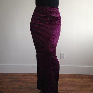 ✨HP✨ Ripe - Burgundy Velvet Burnout Maxi Skirt